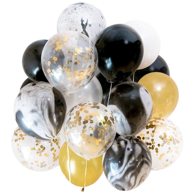 Balloons - Black And Gold - Set Of 12-BAR + PARTY-PropShop24.com