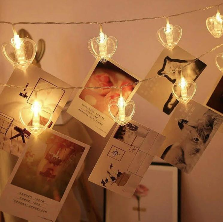 LED String Fairy Hanging Lights - Heart Clip - 2 Meter - Warm White-HOME ACCESSORIES-PropShop24.com