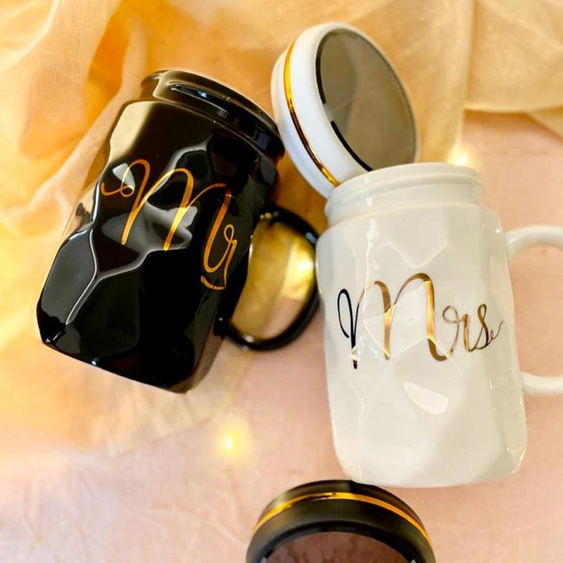 Ceramic Mug With Lid- Mr And Mrs - Black And White - Set Of 2-DINING + KITCHEN-PropShop24.com