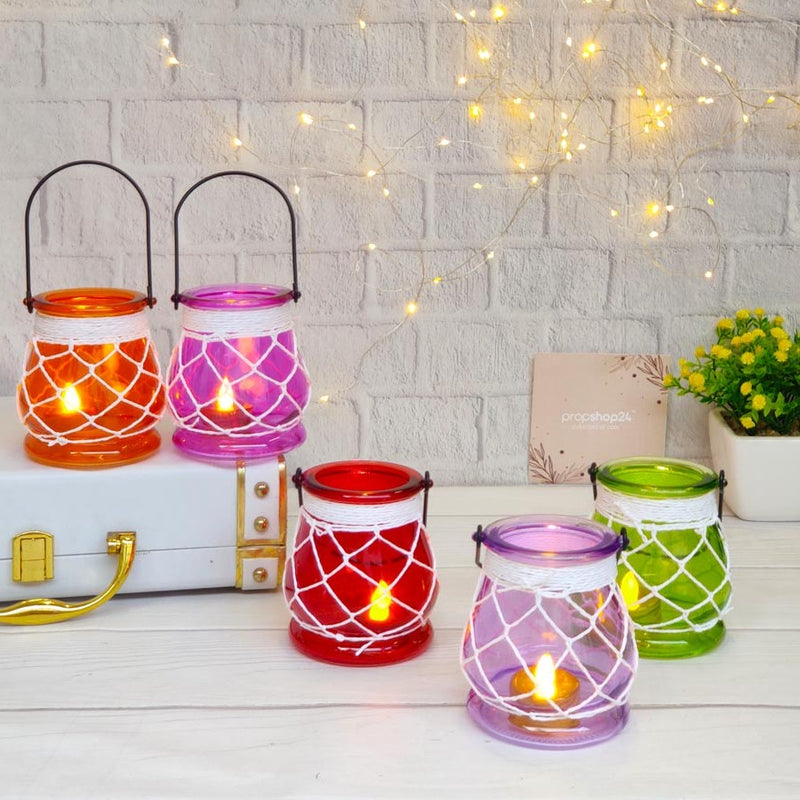 Hanging Glass Candle Holder - Colourful-CANDLES + AROMA-PropShop24.com