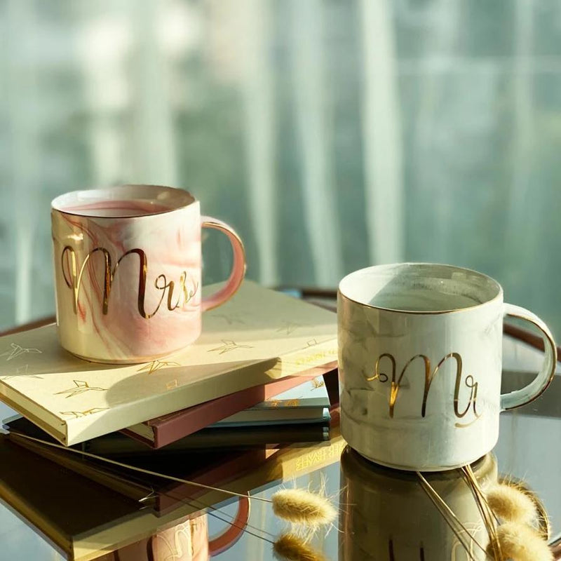 Mr And Mrs Marble Mug - Set of 2-DINING + KITCHEN-PropShop24.com