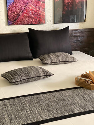 The Black Beauty Knitted Bed Runner With 2 Cushion Covers Set-HOME ACCESSORIES-PropShop24.com