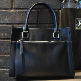 Horizontal Black Leather Handbag-FASHION-PropShop24.com