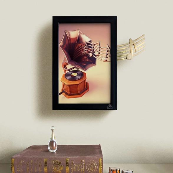 Gramophone 3D Wall Art - Musical Notes-HOME ACCESSORIES-PropShop24.com