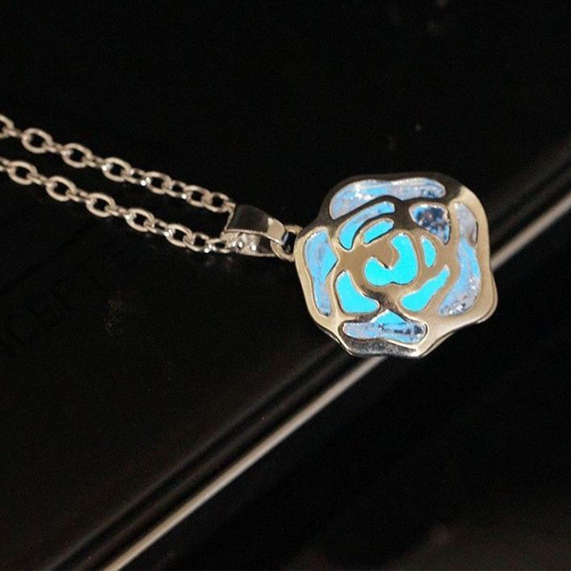 Pendant - Glow In The Dark - Rose - Blue-NECKLACE-PropShop24.com