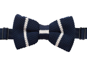 Knitted Bow Tie - Blue And White Pattern-FASHION-PropShop24.com