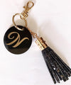 Personalized - Monogram Black Glitter Tassel Keychain Bag Charm - C.O.D Not Available-WOMEN-PropShop24.com