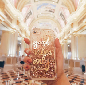 Iphone Xr - Glitter Good Vibes Only - Gold-GADGETS-PropShop24.com