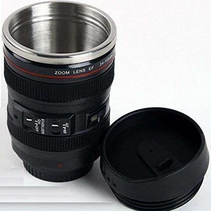 Insulated Mug - Small Camera Lens - Black-DINING + KITCHEN-PropShop24.com