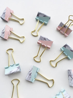 Binder Clips-Marble Paper Binder Clips - Salmon Pink And Mint Blue - 25 Mm - Set Of 4-PENS + PENCILS + PAPER CLIPS-PropShop24.com