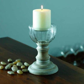 Candle holder - Distressed Wood - Large-HOME-PropShop24.com