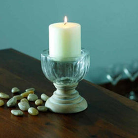 Candle holder - Distressed Wood - Small-HOME-PropShop24.com