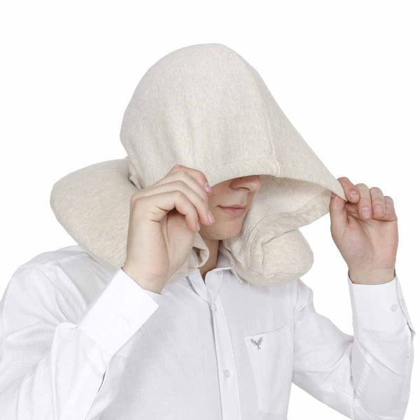 U-Shaped Memory Foam Travel Pillow With Hoodie - Creme-Personal-PropShop24.com
