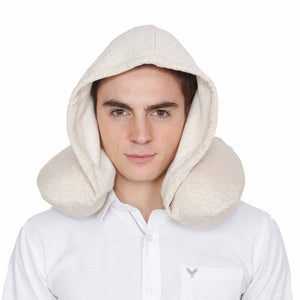 U-Shaped Memory Foam Travel Pillow With Hoodie - Creme-TRAVEL ESSENTIALS-PropShop24.com