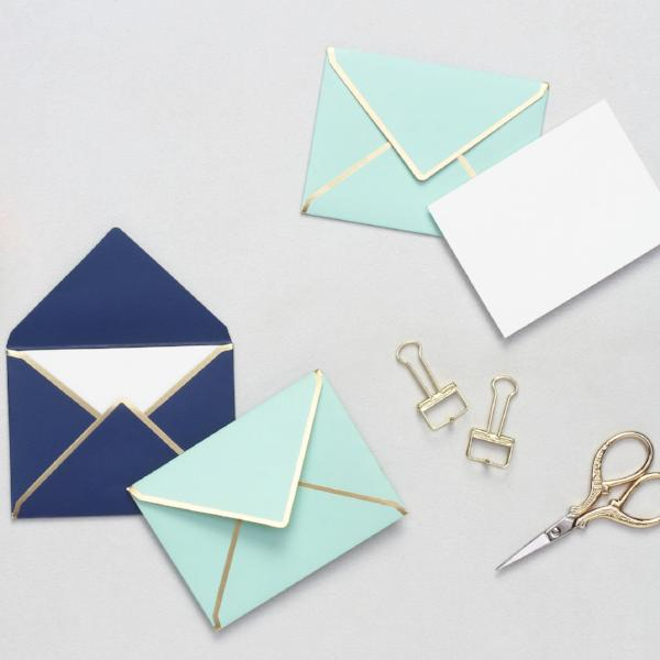 Mini Notecards With Envelopes - Mint & Navy-GIFTING ACCESSORIES-PropShop24.com