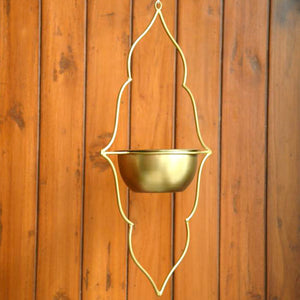 Moroccan Hanging Planter - Gold Finish-HOME ACCESSORIES-PropShop24.com