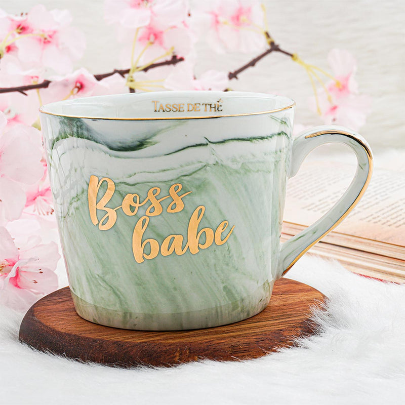 Boss Babe - Green Marble Finish Mug-DINING + KITCHEN-PropShop24.com