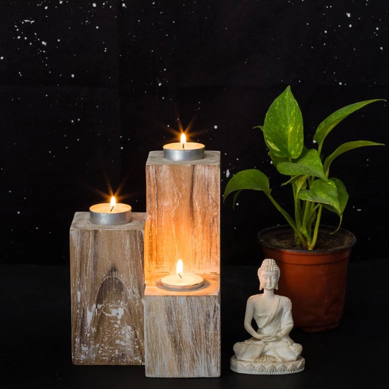 Mesa Wooden Candle Holder-CANDLES + AROMA-PropShop24.com