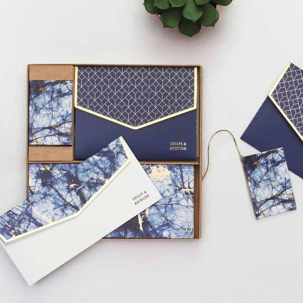 Boxed Set - Indigo & Gold Shibori-GIFTING ACCESSORIES-PropShop24.com