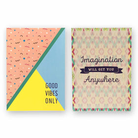 Notebook - Set of 2 - Imagination & Good Vibes Only-STATIONERY-PropShop24.com