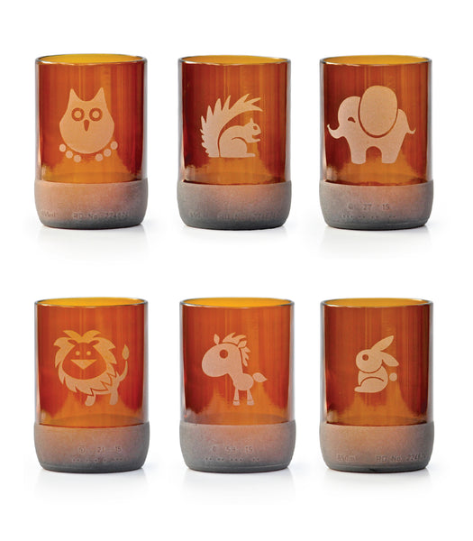 Cute Animal Collection 300ml Drinking Glasses Recycled From Beer Bottles (Set of 6)-HOME-PropShop24.com