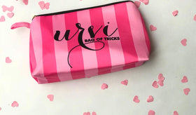 Personalised - Stripes makeup pouch-pink - C.O.D NOT AVAILABLE-FASHION-PropShop24.com