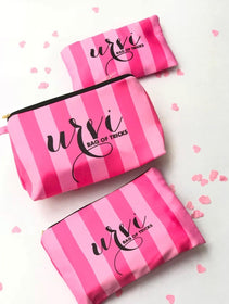 Personalised - Set of 3 - Pink stripes makeup pouch - C.O.D NOT AVAILABLE-FASHION-PropShop24.com