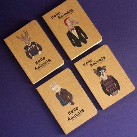 Animals Pocket Notebooks (Set of 4)