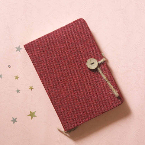 Jute Journal - Deep Red with an elastic pen holder