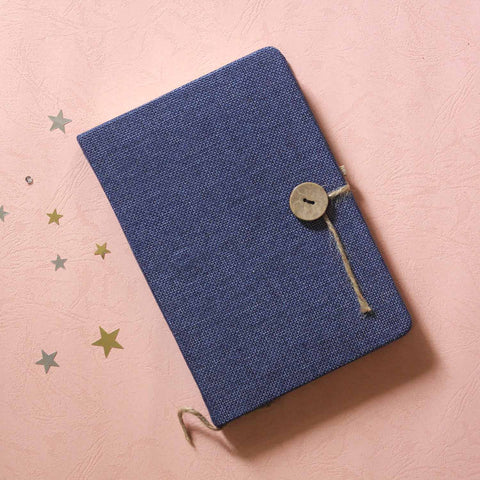 Jute Journal - Blue with an elastic pen holder