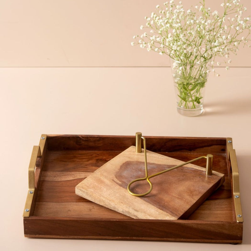 Serving Platter Tray And Wooden Napkin Holder - Set Of 2-DINING + KITCHEN-PropShop24.com
