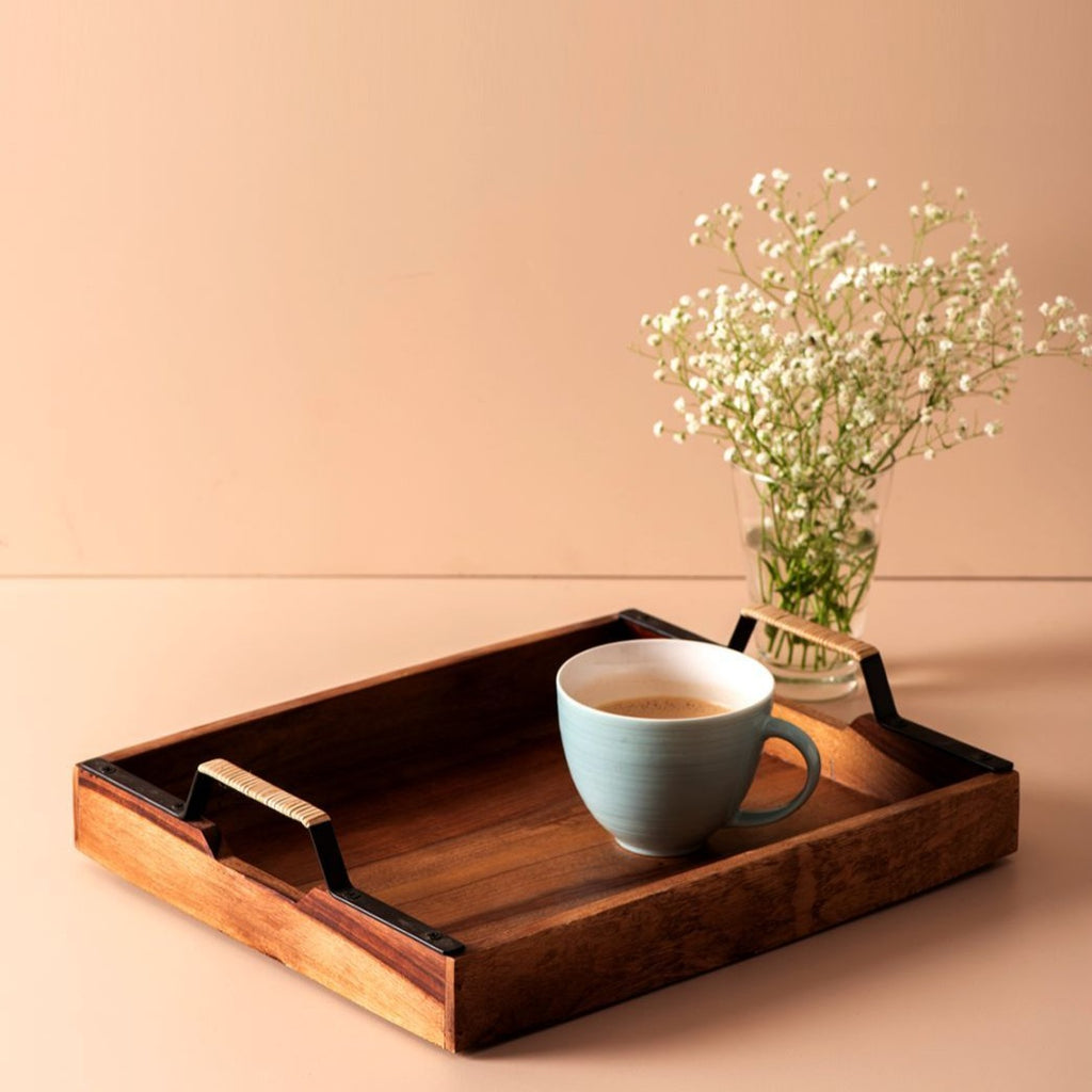 Serving Tray - Brown Sheesham Wood-DINING + KITCHEN-PropShop24.com