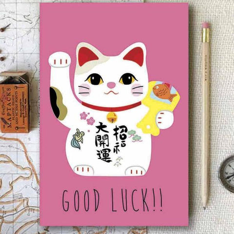 diary - Good Luck Cat - Pink-Stationery-PropShop24.com