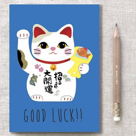 diary - Good Luck Cat - Blue-Stationery-PropShop24.com
