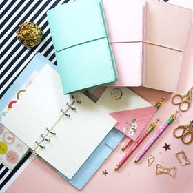 Faux Leather Cover Notebook - Pink-STATIONERY-PropShop24.com