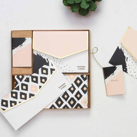 personalised Boxed Set - Peach Abstract - C.O.D NOT AVAILABLE-STATIONERY-PropShop24.com