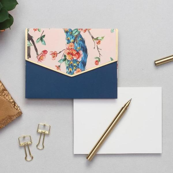 Notecard Set - Peach Peacock - Set of 6-GIFTING ACCESSORIES-PropShop24.com