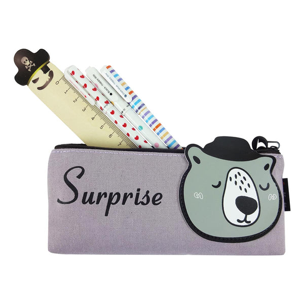 Fabric Pencil Case - Suprise Bear Grey-STATIONERY-PropShop24.com