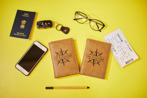 Passport Covers - Mr & Mrs. Wanderer Set - Brown-Fashion-PropShop24.com