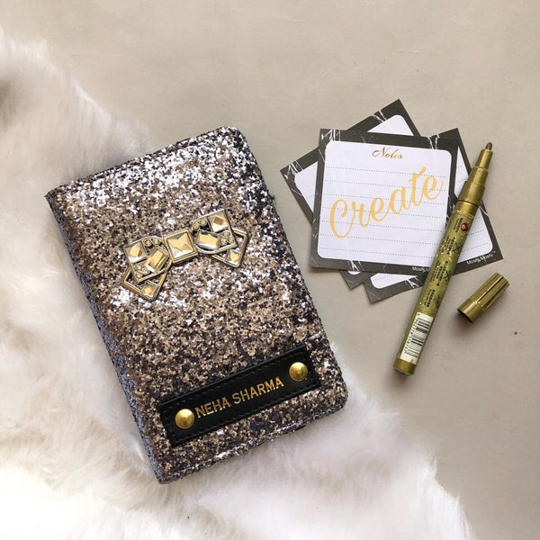 Personalized Passport Cover -Grey Glitter - Bow - C.O.D Not Available-Fashion-PropShop24.com