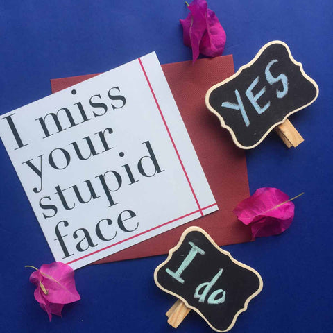 Greeting card-Miss your stupid face' card-STATIONERY-PropShop24.com