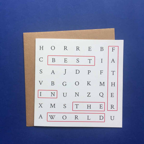 Greeting card-Best Father in the World crossword card-STATIONERY-PropShop24.com