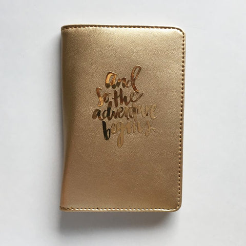 Passport Cover - Gold : And so the adventure begins-FASHION-PropShop24.com