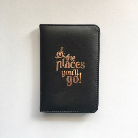 Passport Cover - Black : Oh! The places you'll go-FASHION-PropShop24.com