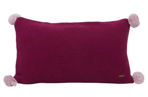 Sasha Fuscia Cotton Knitted Rectangle Cushion Cover-HOME ACCESSORIES-PropShop24.com