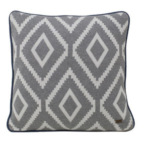 Alba Grey Cotton Knitted Square Cushion Cover-HOME-PropShop24.com