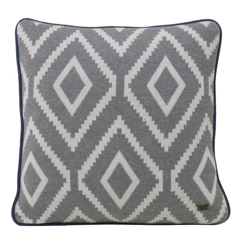 Alba Grey Cotton Knitted Square Cushion Cover-HOME ACCESSORIES-PropShop24.com