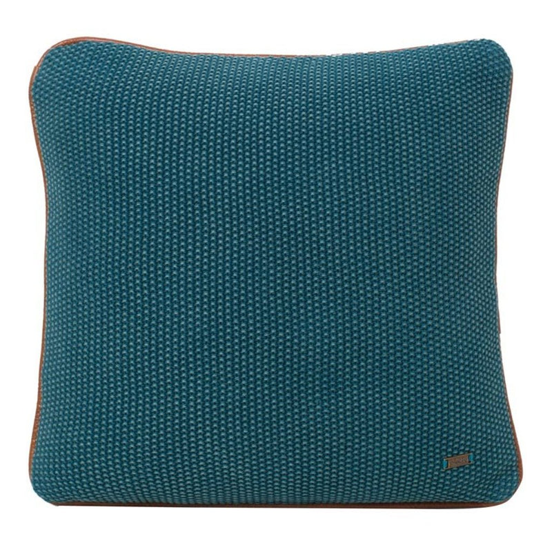 Mini Moss Peacock Blue Washed Cotton Knitted Square Cushion Cover-HOME ACCESSORIES-PropShop24.com