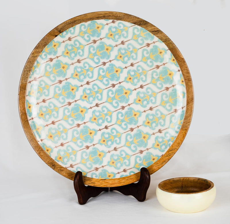 Platter - Small Dipping Bowl Wooden - Blue Ikat-DINING + KITCHEN-PropShop24.com