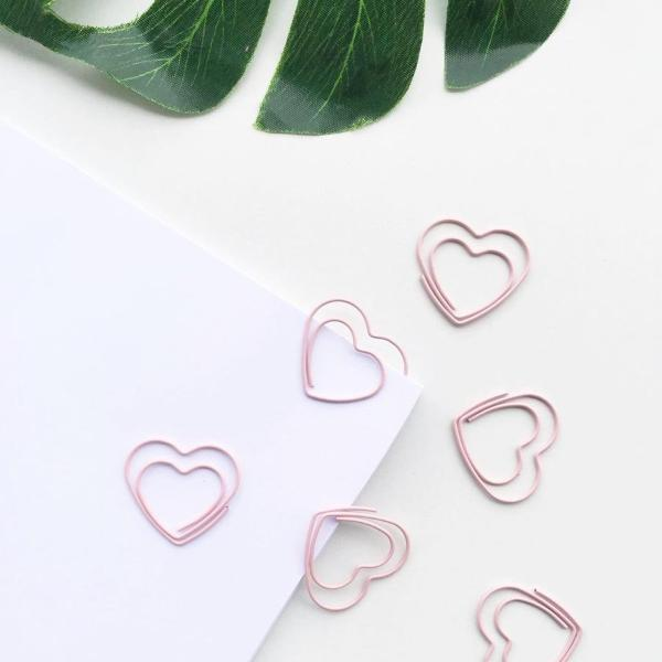 Paper Clips- Lovely Pink Heart Paper Clips - Set of 8-STATIONERY-PropShop24.com
